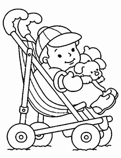 Doll Coloring Stroller Pages Pram Drawing Alive