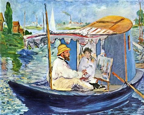 Manet Monet In His Studio Boat by Monet Painting In His Studio Boat 1874 By Edouard Manet