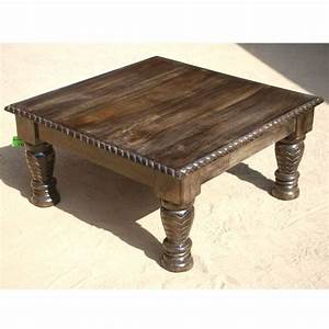 Artistic wooden square coffee table with fine hand carved for Indian carved coffee table