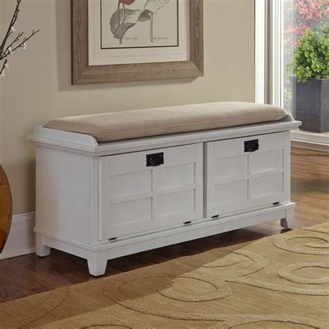White Entryway Storage Bench Design — Stabbedinback Foyer