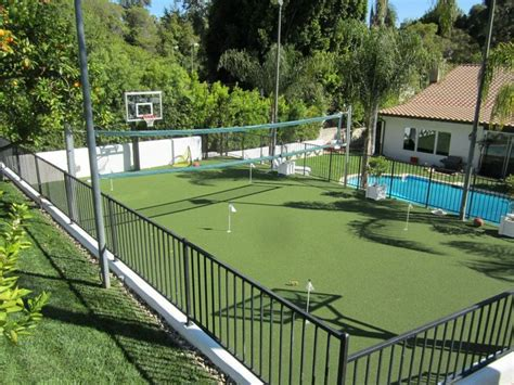 backyard tennis court pool putting green tennis court basketball court now that s a fun backyard and almost all