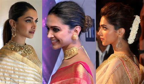 deepika padukone hairstyles with sarees style inspiration