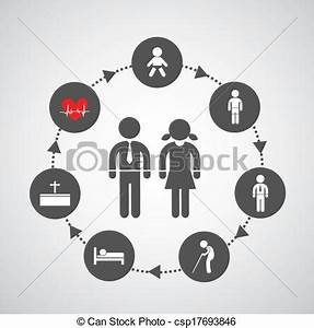 EPS Vector of human life symbol from birth to death in ...