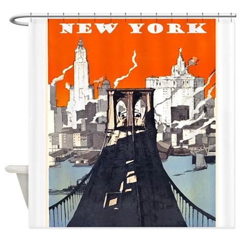vintage new york shower curtain by vintageposter