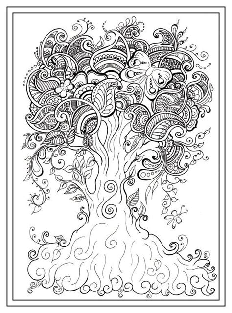 adult colouring    tree dragonfly henna zen