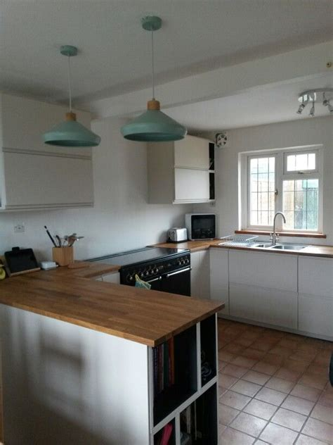 Ikea voxtorp chestnut kitchen lake house kitchen interior. My new kitchen. Ikea Voxtorp Light Beige + oak worktops ...