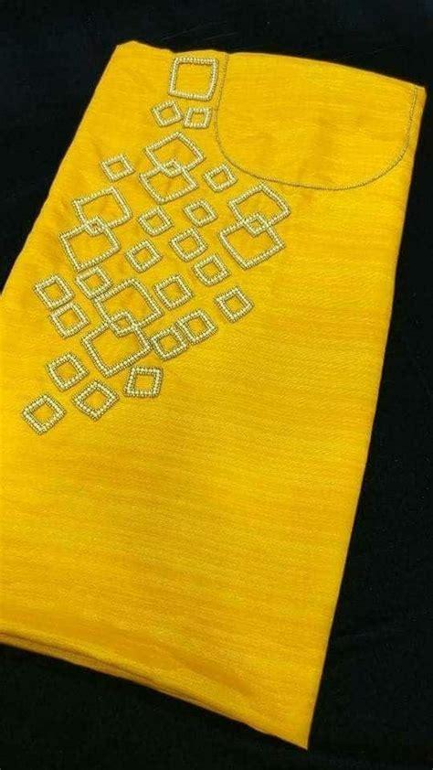 hand embroidery stone work designing  kurti simple