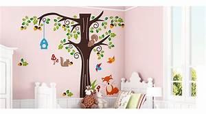 Wandtattoo Baum Kinder : cartoon waldtiere kinderzimmer wandaufkleber wandtattoo ~ Whattoseeinmadrid.com Haus und Dekorationen