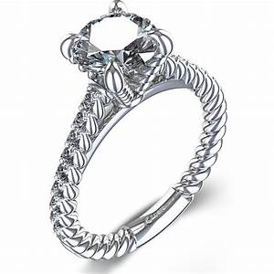 rope design diamond engagement ring in 14k white gold With wedding rings design picture