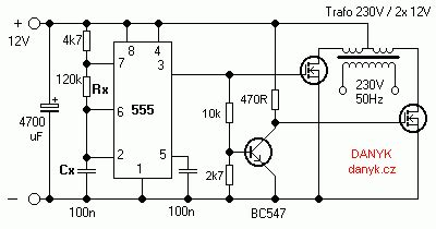 50hz 220v Wiring Diagram by 12v 230v 50hz Square Wave Inverter With 555