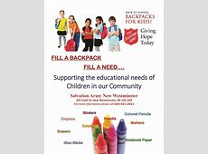 Back To School Backpack Program Salvation Army