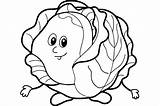 Cabbage Coloring Drawing Pages Patch Vegetable Vegetables Getdrawings sketch template