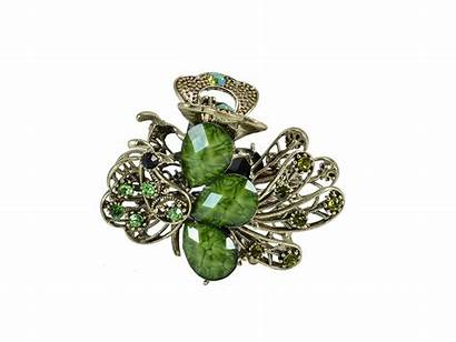 Bling Clip Hair Peacock Jeweled Rhinestone Butterfly