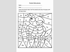 Periodic table colouring worksheets by wattersonlara