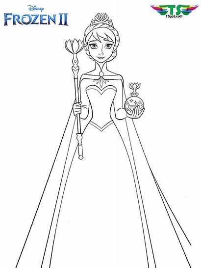 Elsa Frozen Coloring Crown Queen Cartoon Tsgos