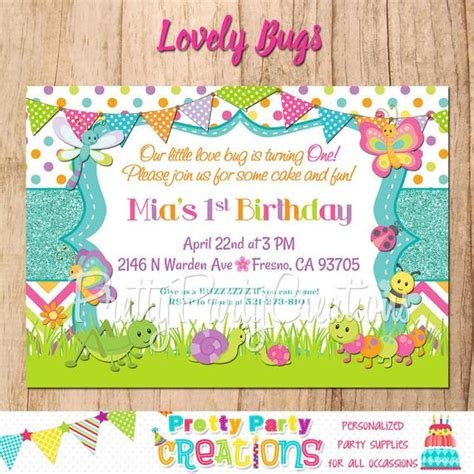 Lovely Bugs Invitation  You Print By Pretty Party