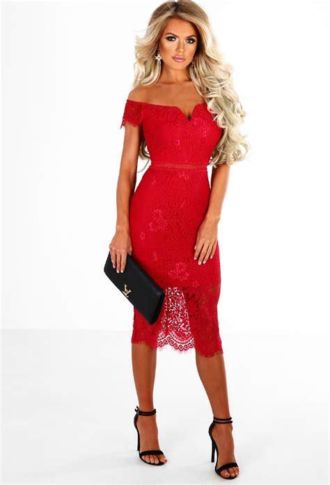 sukienka koronkowa czerwona oł 243 wkowa midi odkryte ramiona sukienki w mohho pl