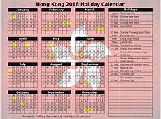 Hong Kong 2018 2019 Holiday Calendar