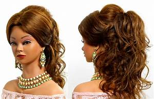Curly prom bridal hairstyle for long hair tutorial - YouTube