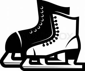 Black and white illustration of a pair of ice skates, a ...