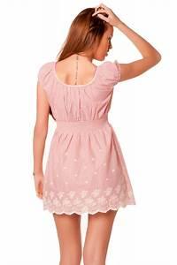 robe tunique beige et rose raye avec de la dentelle With robe tunique pas cher