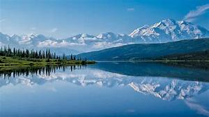 alaska, denali, national, park, lake, with, mountain, reflection