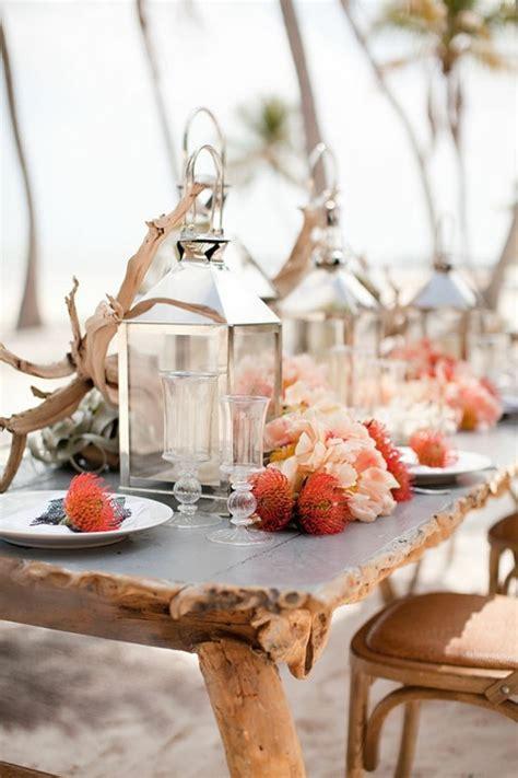 Coral beach wedding reception decoration ideas Fab Mood