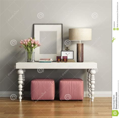 elegant chic brown console table  stools stock
