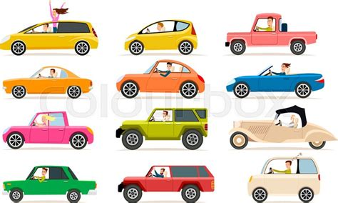 Collection Isolated Vector Icons Of Vehicles. Private