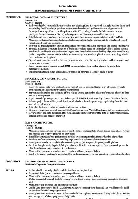 Data Architect Resume by Data Architecture Resume Sles Velvet