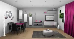 4 Murs Rideaux Blanc by D 233 Co Salon M 251 R Gris Et Blanc Touche De Couleur Fushia