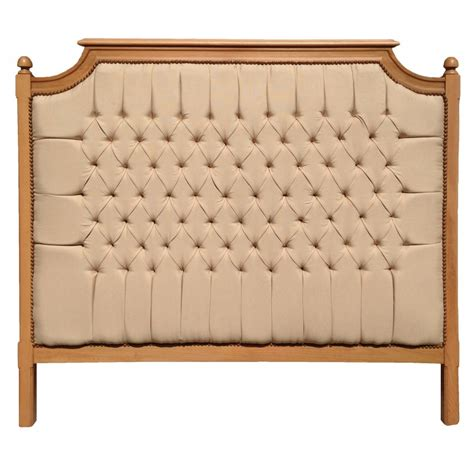 wood and fabric bed bed headboard french country chic style beech wood and linen fabric