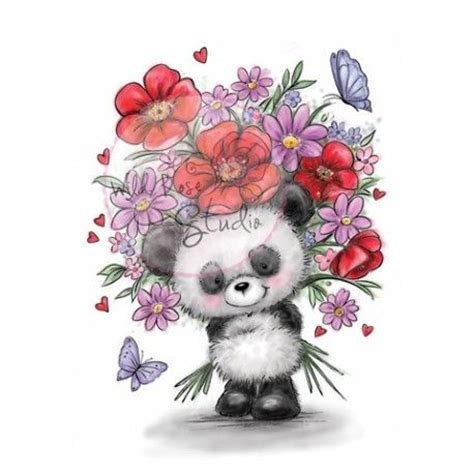 ton dessin wild rose studio panda et grand bouquet de