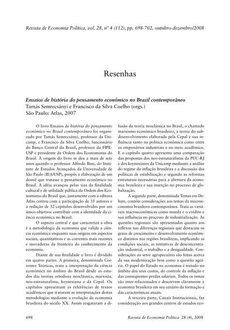 (PDF) Ensaios de história do pensamento econômico no ...