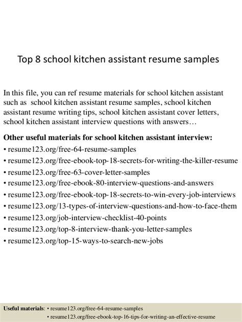 Kitchen Assistant Skills Resume by Top 8 School Kitchen Assistant Resume Sles