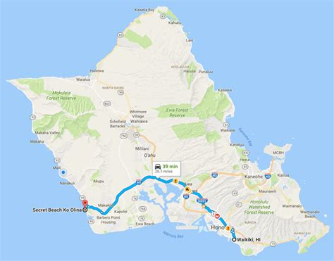 secret beach ko olina resort map  directions