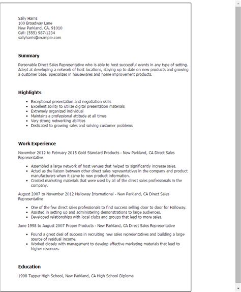Professional Sle Sales Representative Resume by Professional Direct Sales Representative Templates To Showcase Your Talent Myperfectresume