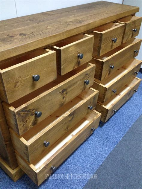 Solid Pine Chest of Drawers, Rustic Solid Pine Sideboard