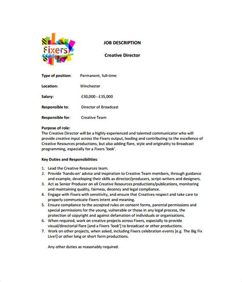 job description templates  word  documents