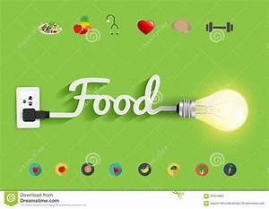 Vector Food Ideas Concept Creative Light Bulb Design Stock