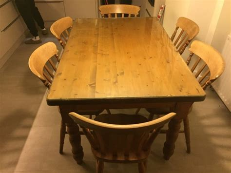 Kitchen Table Solid Pine And Chairs For Sale In