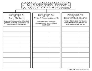 Autobiography Cover Page Template Autobiography Outline Autobiography Writing Planner And Templates 3rd Grade