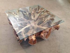 Wohnzimmertisch Mit Glasplatte : wohnzimmertisch aus einer baumwurzel der tischonkel ~ Markanthonyermac.com Haus und Dekorationen