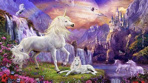 fantasy wallpaper hd unicorns horse castles waterfalls