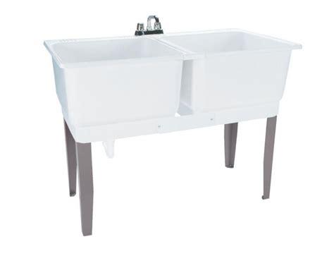Double Basin Laundry Tub Freestanding Polypropylene