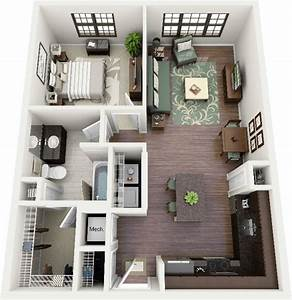 1 bedroom apartment house plans for Plan maison avec appartement