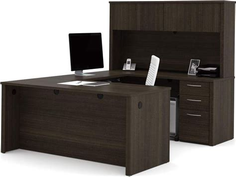 embassy chocolate 66 quot u shaped desk from bestar