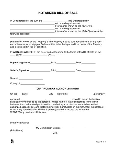 where do i get a bill of sale form free notarized bill of sale form pdf word eforms