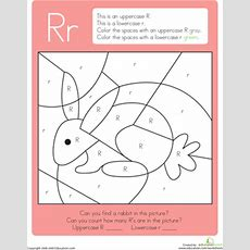 Color By Letter Capital And Lowercase R  Worksheet Educationcom