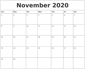 november print blank calendar